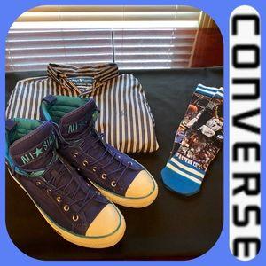 NWOB Royal and Teal Blue Converse Men's HighTops